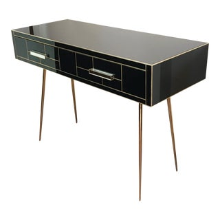 Black Mirrored and Brass Desk or Console