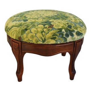 Early 1900s Foot Stool w/ Scalamandre Marly Velvet Fabric