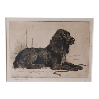 Wonderful Signed 19th Century Pen and Ink of a Dog, Signed Marion Harrier