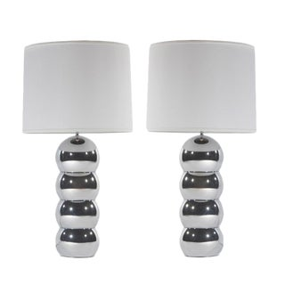 PAIR OF CHROME STACKED-BALL LAMPS BY GEORGE KOVACS