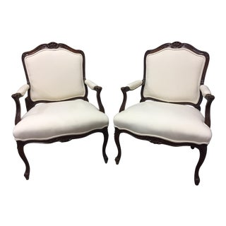 Upholstered French Bergere Sherrill Chairs - A Pair