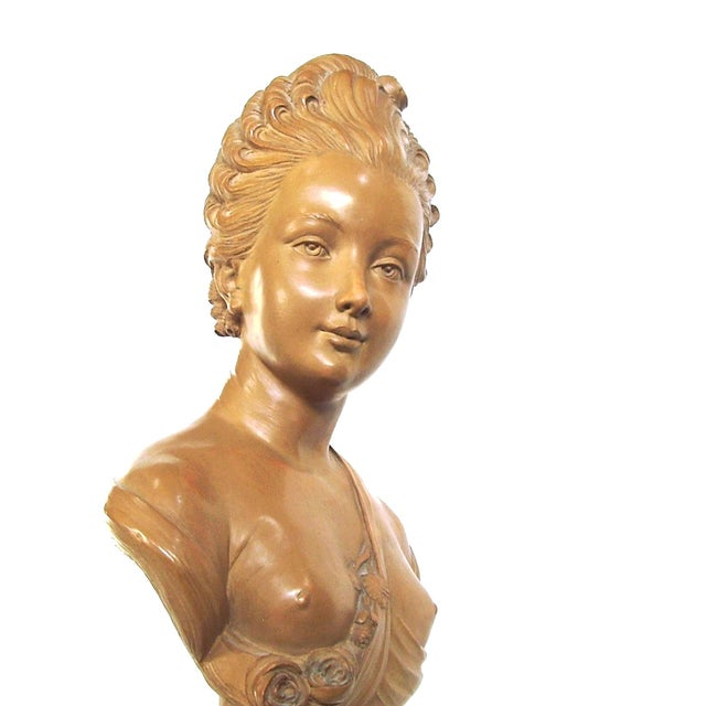 Image of Antique French Terracotta Bust Semi Nude Caffieri