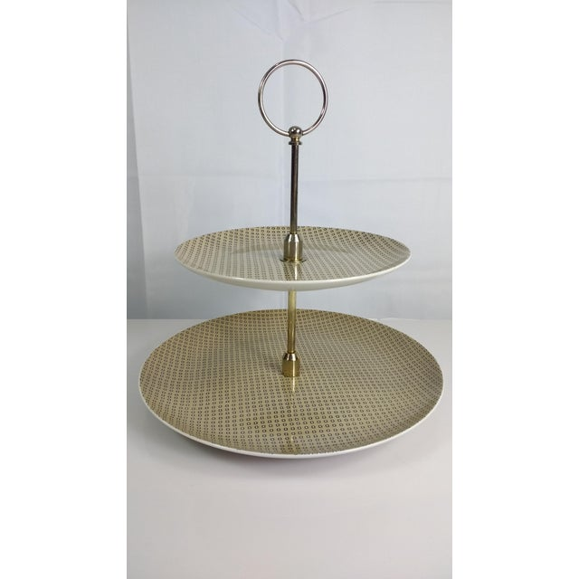 Image of Fitz & Floyd 2 Tier Serving Tray Foulard Pattern