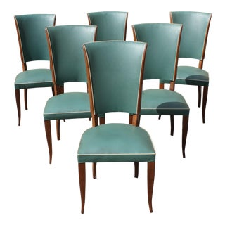 French Art Deco Solid Mahogany By Jules Leleu Style Dining Chairs Circa 1940s - Set of 6