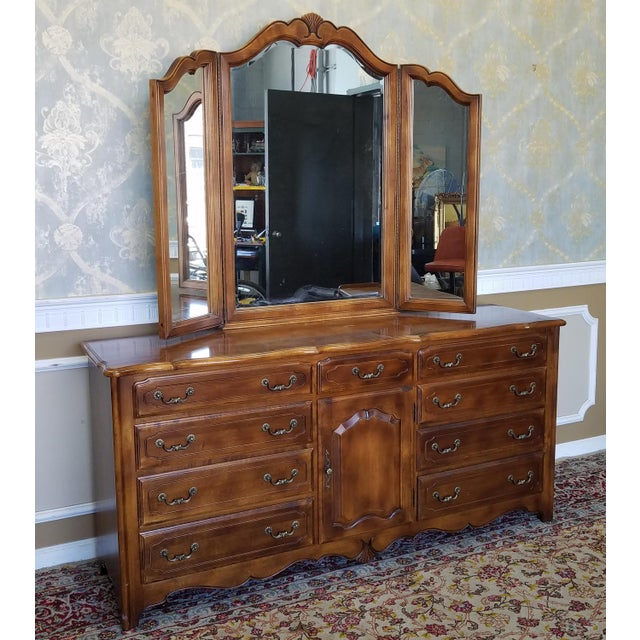 Ethan allen french country bedroom triple dresser tri fold mirror chairish for Ethan allen country french bedroom