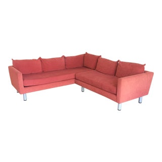 Red 2 Piece Sectional Sofa & Gray Pillows