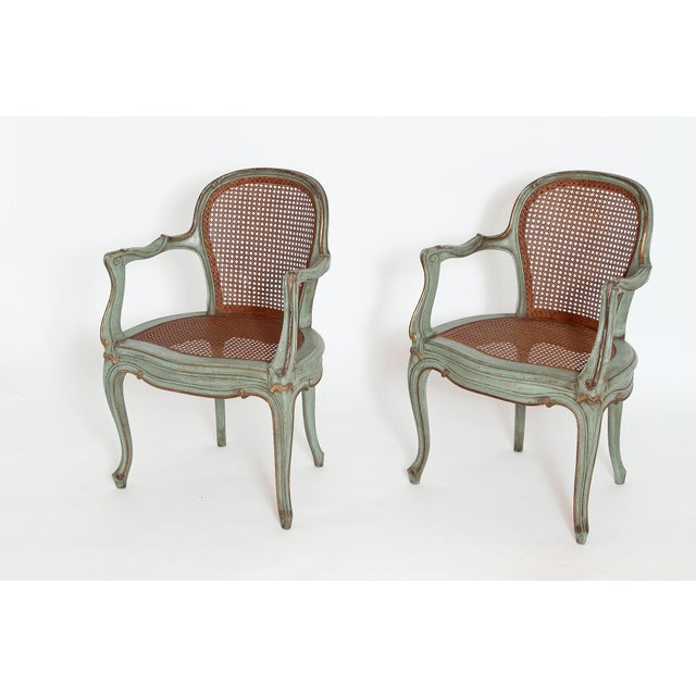Set of 4 Italian Caned Polychrome Fauteuils - Image 6 of 11