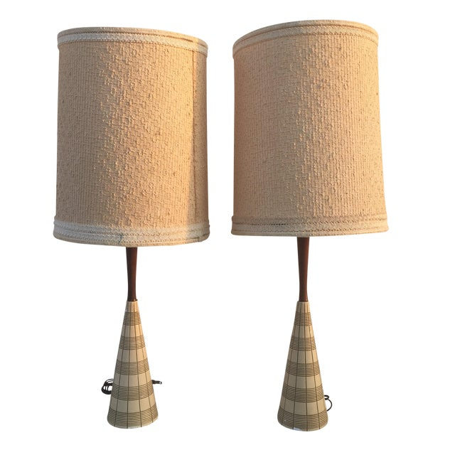 Mid-Century Ceramic & Walnut Lamps - Pair - Image 1 of 10