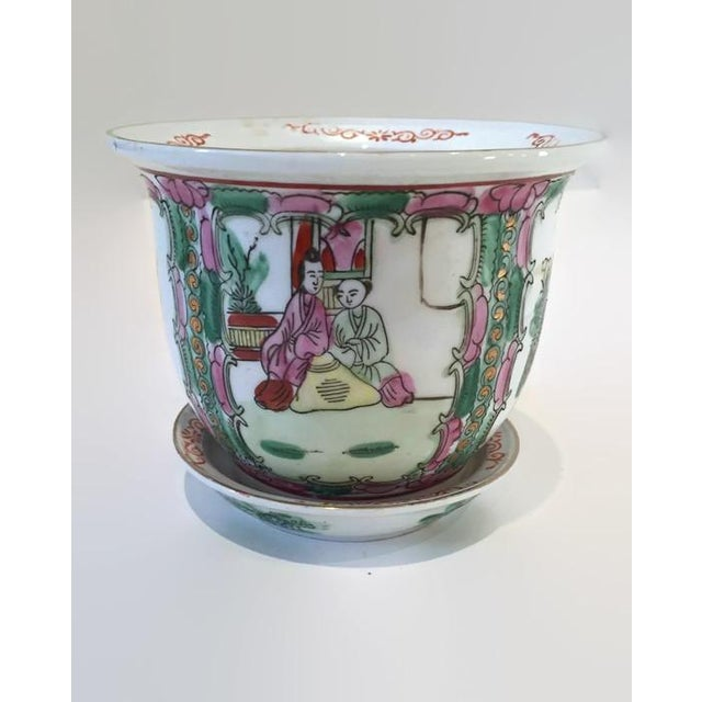 Image of Vintage Rose Medallion Chinoiserie Planter Pot