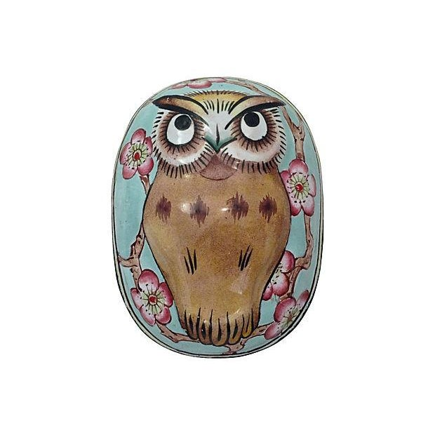 Cantonese Hand-Painted Enamel Owl Box - Image 1 of 7