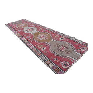 Vintage Turkish Handmade Large Runner Kilim Rug - 4′11″ × 15′9″