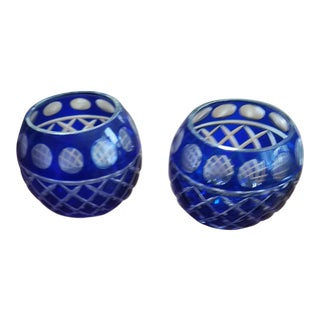 Antique Bohemien Czech Blue Crystal Candle Holders - a Pair