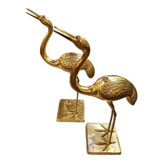 Hollywood Regency Large Brass Cranes Waterbirds - a Pair