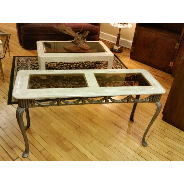 Tesselated Stone & Cast Iron Console Table - Image 2 of 6