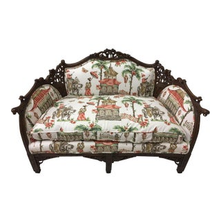 1930s Chinoiserie Carved Pagoda Settee