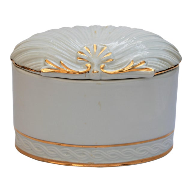 Vintage White and Gold Porcelain Box With Seashell Lid - Image 1 of 9