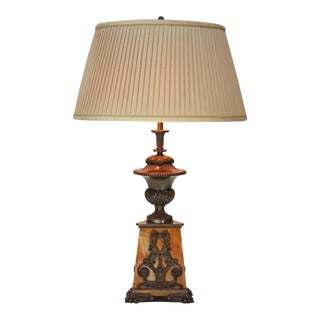 Regency Sienna Marble and Bronze Lamp