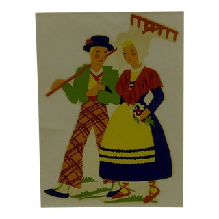 "1930s Vintage Decal / Wall Decoration ""Fall Stroll"" the Meyercord Co. Chicago"