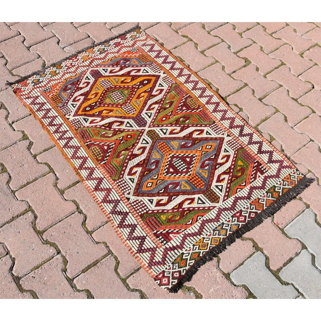 Anatolian Tribal Embroidered Kilim Area Rug -2′6″ × 3′10″ - Image 3 of 6