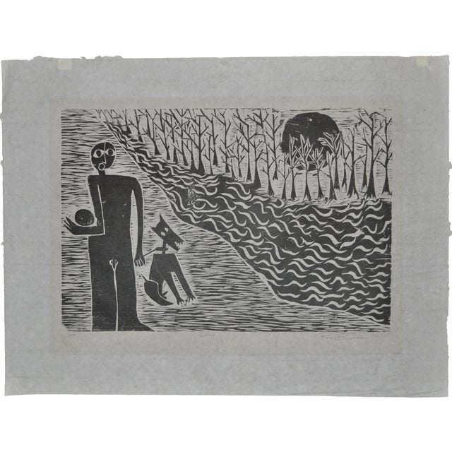 Mid Modern Woodblock C.1950 - Image 2 of 8