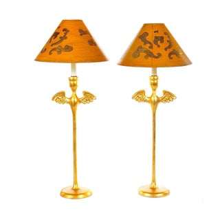 Gilt Table Lamp with Angels Wings - A Pair