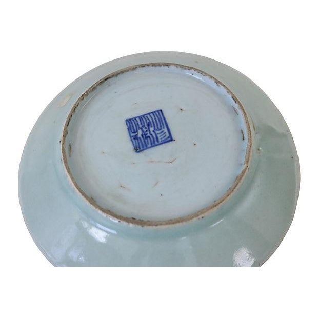 Image of Chinese Celadon Famille Rose Wall Plate