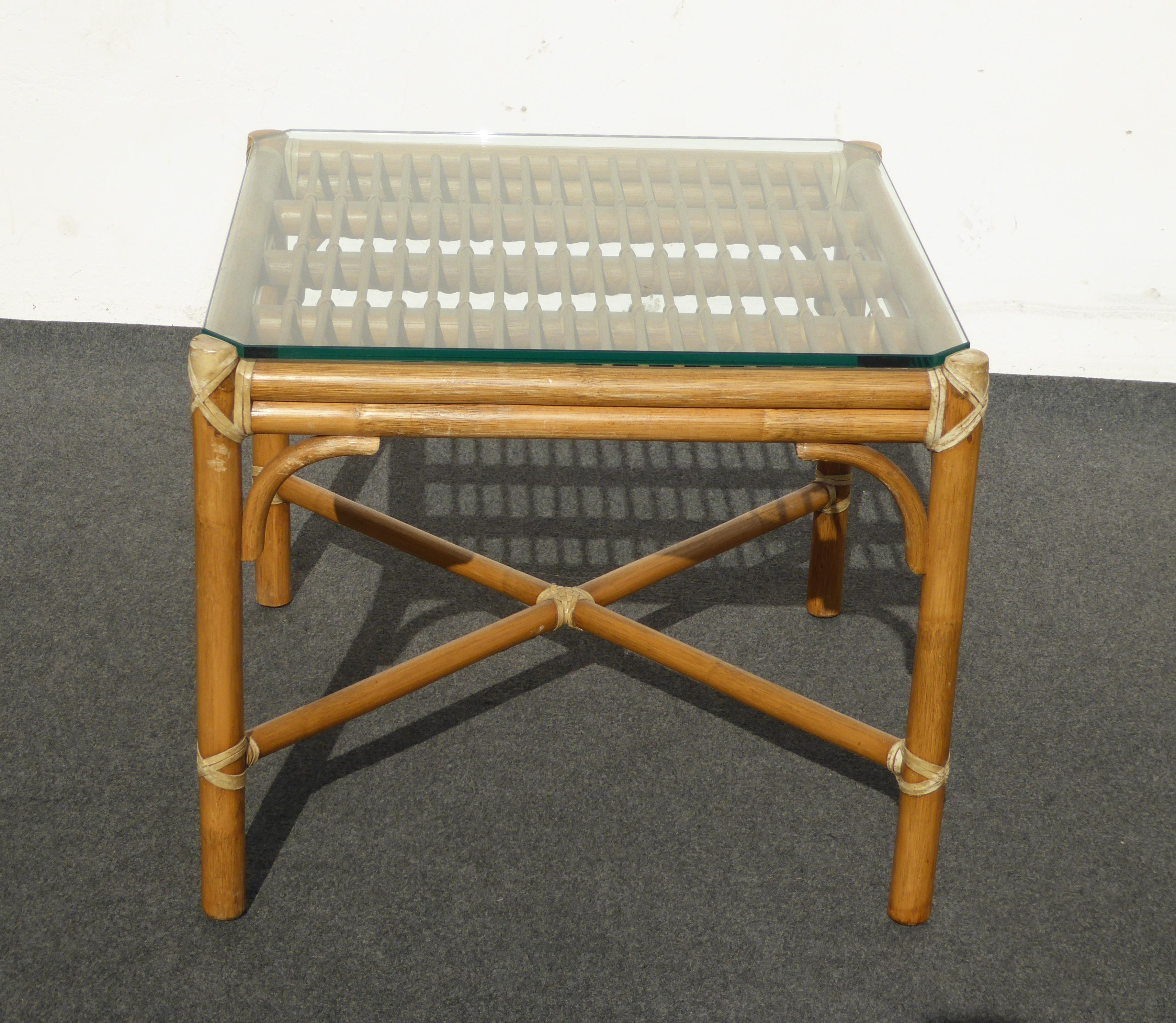 McGuire Rattan Bamboo End Table Or Coffee Table   Image 4 Of 9