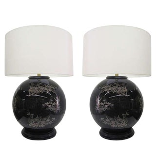 Mid-Century Glass Japanese Style Table Lamps - A Pair