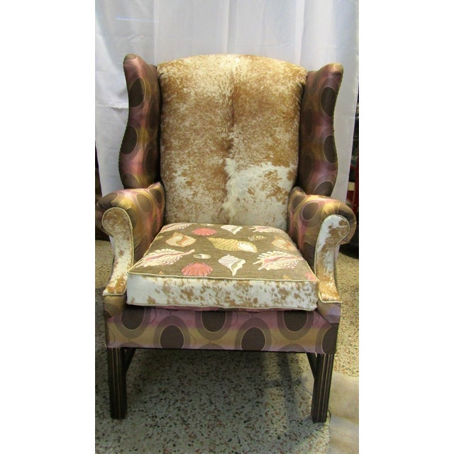 Vintage Chippendale Wingback Chair W/ Cowhide - Image 2 of 8