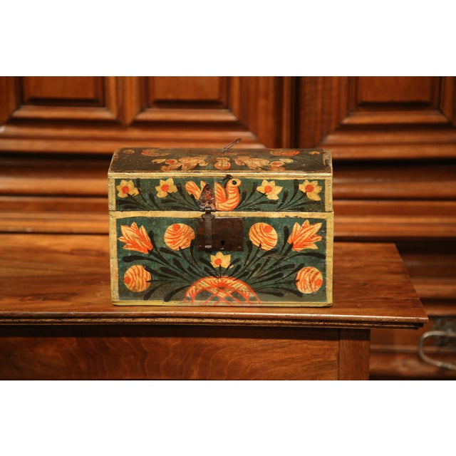 18th Century French Painted Trunk with Birds and Flowers from Normandy - Image 3 of 8