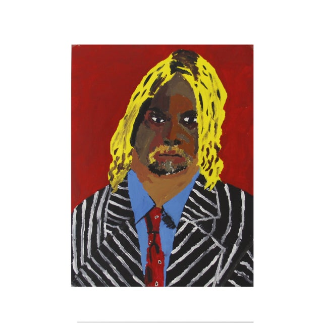 Image of Vintage Pop Art Original Painting of a Man