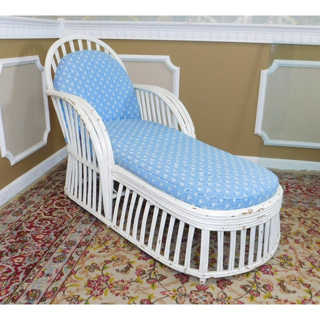 Image of Antique Heywood Wakefield Art-Deco White Chaise Lounge