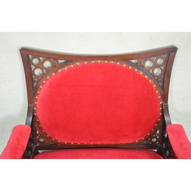 Antique 19th Century Aesthetic Mahogany Arm Chair (possibly Herter Brothers) - Image 6 of 11