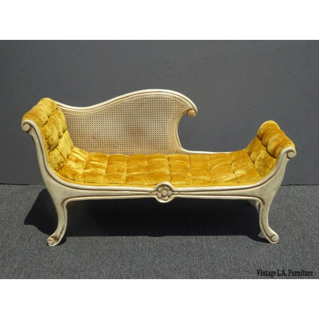 French Provincial White Cane & Gold Velvet Bench Settee - Image 2 of 11
