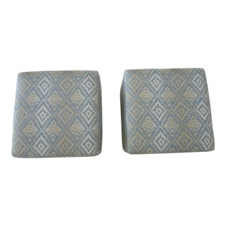 Patterned Upholstered Ottomans - A Pair