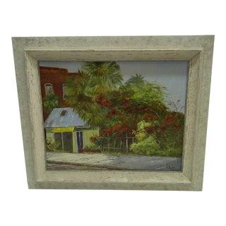 """Circa 1960 J.A. Hipler """"The Garden"""" Original Painting on Canvas"""