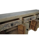 Image of Vintage Chinese Natural Wood Sideboard Table