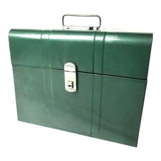 Vintage Mid-Century Industrial Green Metal Filing Box
