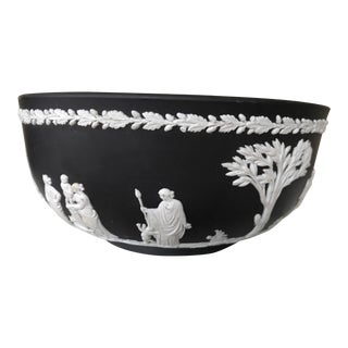 Wedgwood Black & Ivory Jasperware Bowl Sacrifice With Classical Figures