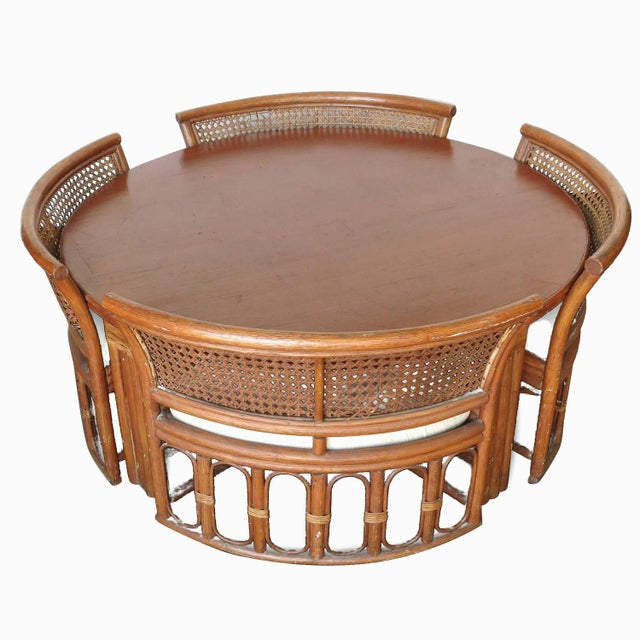 Rattan & Wicker Dining Table & Four Hidden Chairs - Image 2 of 10