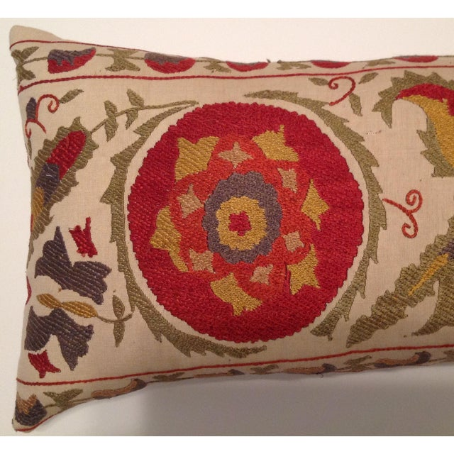Red & Tan Silk Embrodery Suzani Pillow - Image 6 of 10