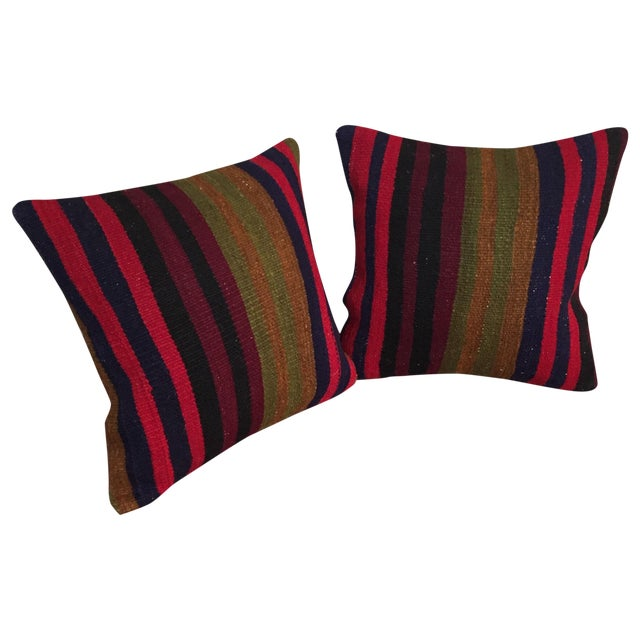 Vintage Kilim Throw Pillow (One Left, on Left) - Image 1 of 5