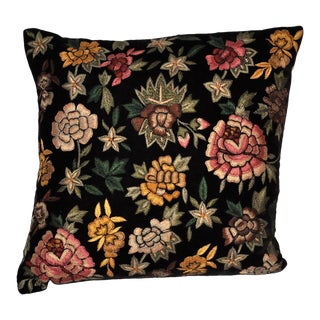 Anke Drechsel Velvet Floral Pillow in Black