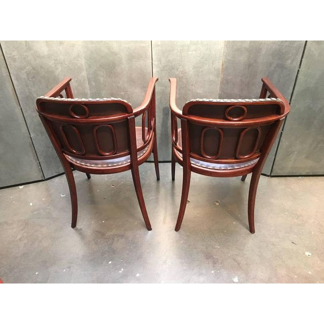 Pair of Josef Hoffman Bent Beechwood and Hand Tooled Leather Armchairs - Image 6 of 10