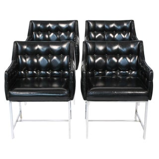 Milo Baughman Leatherette & Chrome Game Chairs - Set of 4