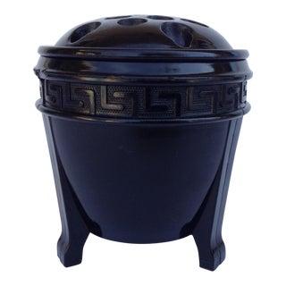 c.1950s Black Milk Glass Greek Key Vase w/ Flower Frog