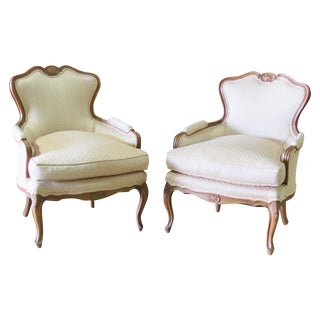 Louis XVI Style Walnut Bergeres - A Pair
