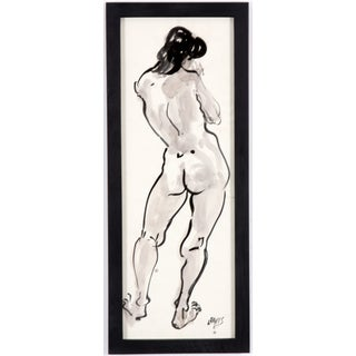 L. Davis Leaning Figure Ink Painting