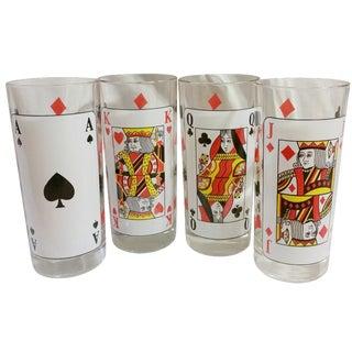 Italian Poker High Ball Glasses - Set of 4