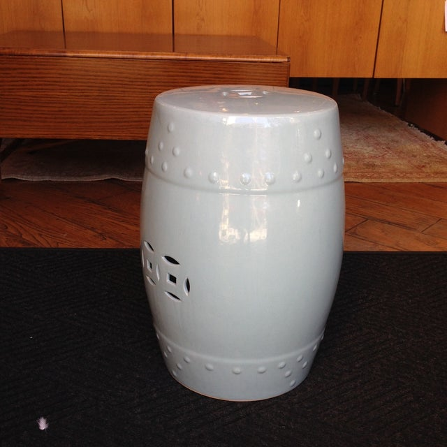 Image of Light Blue Ceramic Garden Stool